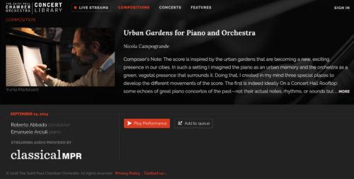 SPCO concert library, Urban Gardens